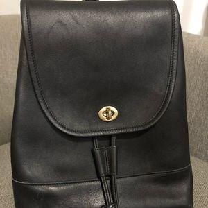 Original Coach Black Leather Rucksack Backpack